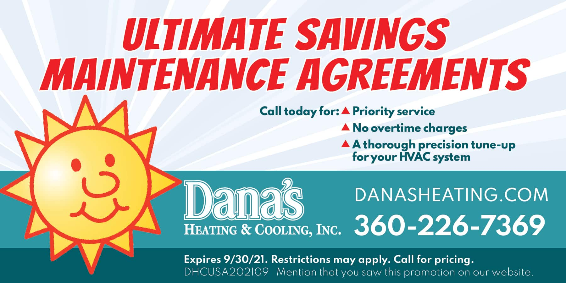 Ultimate Savings Maintenance Agreements | DHCUSA202107. Mention that you saw this promotion on our website. | Expires 09/30/21