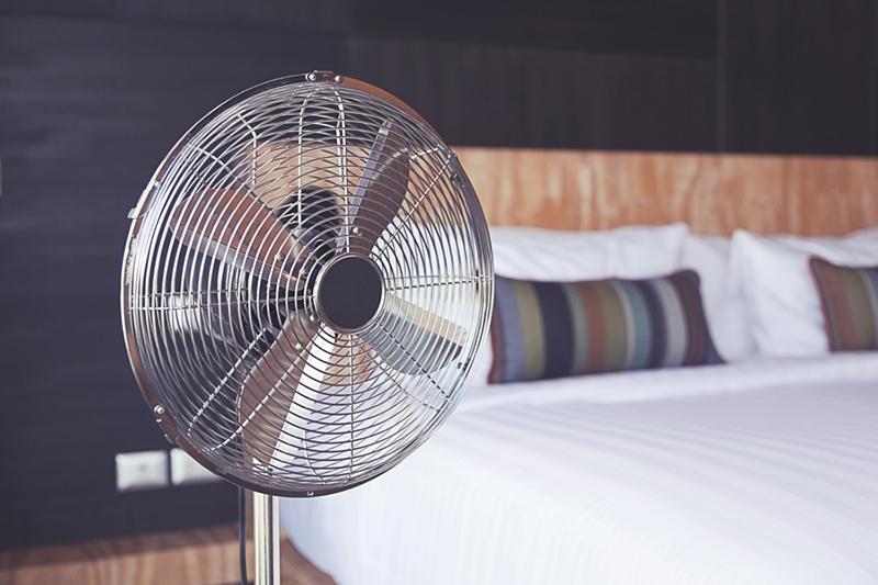 Floor Fan in bedroom